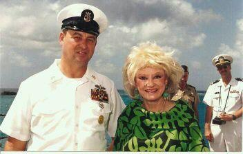 CMDCM Richard E Twigg and Phyllis Diller, onboard USS Richmond K Turner (CG-20)